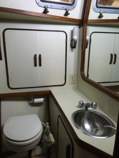 Roomy head with manual toilet