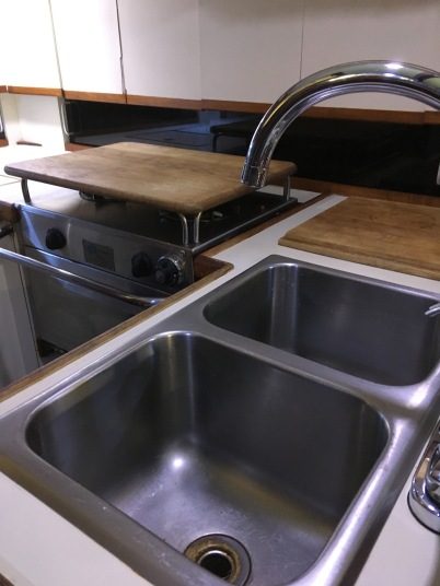 Double stainless sink with new faucet