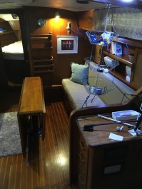 Starboard settee pulls out to make a double berth